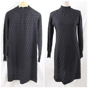 Vintage 60s Black Dress MockNeck Checks Evan Wayne